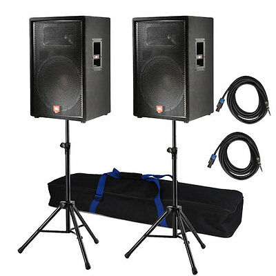 "JBL JRX115 Passive 15"" 2-Way DJ PA Speaker PAIR w/ Stands & Speakon Cables on Rummage"