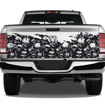 - Skulls Overlay Grunge Wrap Graphic Rear Tailgate Decal Truck Pickup Dodge Ram
