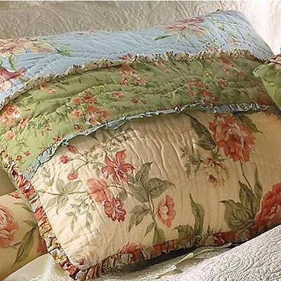 GARDEN DREAM STANDARD SHAM : COUNTRY COTTAGE RAG PATCH FLORAL PILLOW COVER