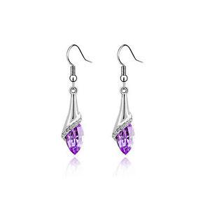 Amazing-Silver-Violet-Light-Purple-Angel-EyeTear-Drop-Earrings-E435