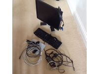 Dell keyboard, monitor and assortment of leads