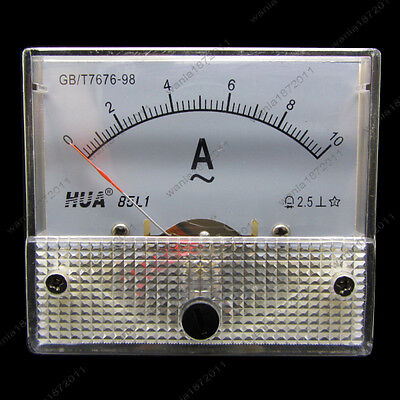 Ac 10a Analog Ammeter Panel Pointer Amp Current Meter Gauge 85l1 0-10a Ac