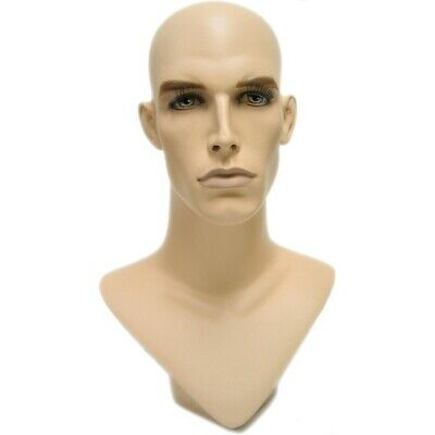 Mn-175 V-neck Male Fleshtone Mannequin Head Form With Realistic Painted Features