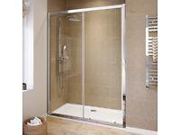 Sliding glass shower door 1400mm. Brand new