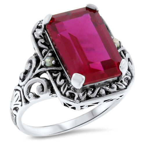 ANTIQUE STYLE 925 STERLING SILVER 5.5 Ct RED LAB RUBY & PEARL RING SZ 4.75  #500