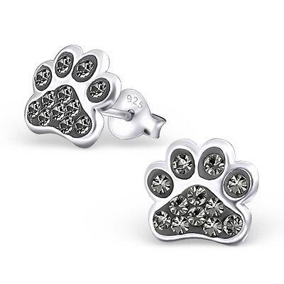 Paw Print Black Diamond Crystal .925 Sterling Silver Stud Post Earrings (Black Paw Print)