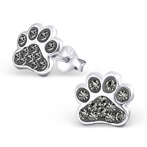 Paw Print Black Diamond Crystal 925 Sterling Silver Stud Post Earrings