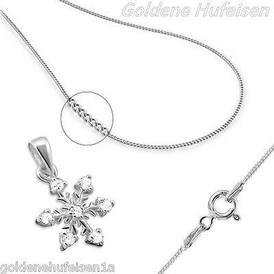 Kristall Schneeflocke KETTE mit ANHÄNGER 925 Echt Silber Geschenkidee z-193