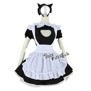 Anime Cat Woman Maid Apron Dress Cosplay Halloween Lolita Costume Cat Ears | eBay