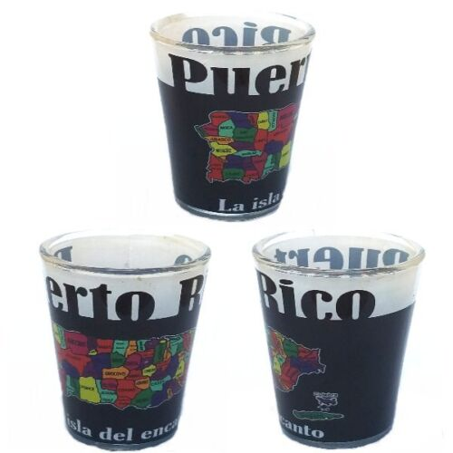 Lot 2 Shot Glass W/ Puerto Rico Island & Name of Municipalties Design SOUVENIRS
