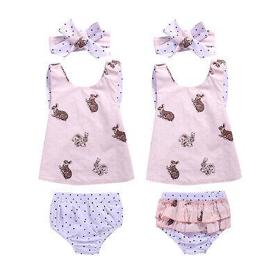 AU 0-3T Toddler Baby Girls Outfits Rabbit Top Vest Shirt+Pants Clothes Set