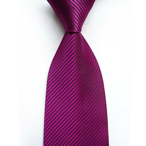 19 Color! New Classic Solid Color Stripes JACQUARD WOVEN Silk Men's Tie Necktie
