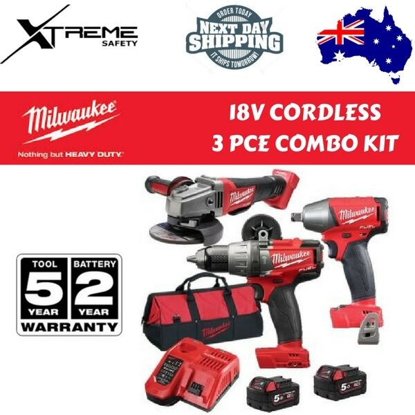 milwaukee combo kit. milwaukee cordless fuel power 3 pce combo kit 18v 5.0ah