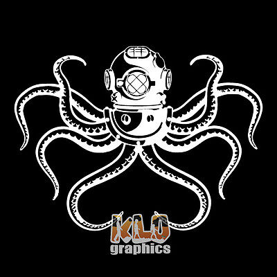 Deep Sea Diving W Octopus Vinyl Sticker Ocean Scuba Dive Ocean Commercial Rig