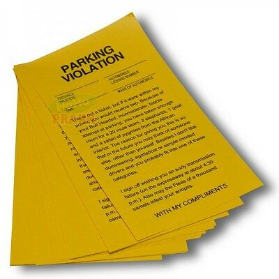 Yellow Revenge Fake Parking Tickets(25 tickets)-Parking Violation Gag Prank Gift - Halloween Park Pranks