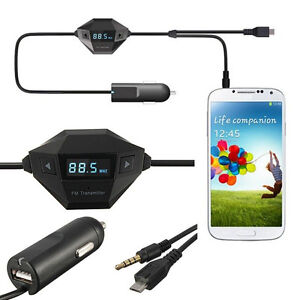 3.5mm FM Transmitter Micro USB Car Charger For iPhone6/plus Samsung Galaxy S6 S5