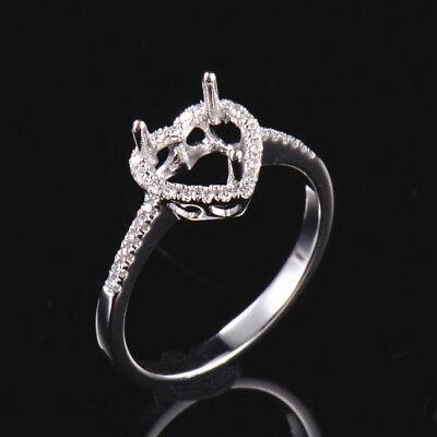Natural Diamond Semi Mount Engagement Ring Settings Heart 6×6mm 14K White Gold
