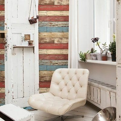 Levi Red Scrap Barn Wood Blue Tan Brown Weathered Rustic Faux Designer Wallpaper