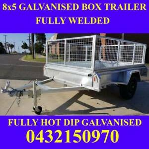 8x5 fully galvanised box trailers with mesh cage full checker pla