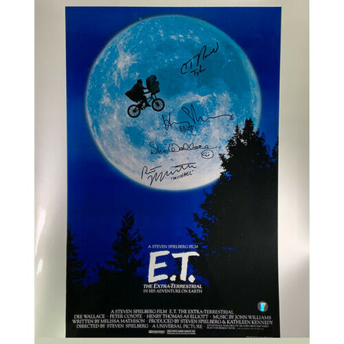 E.T. Cast Signed 16X20 Movie Poster Photo