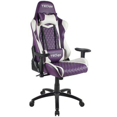Ergonomic High Back Racer Style Video Gaming Chair Purple
