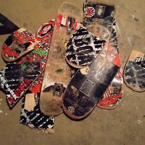 Broken and used skateboards