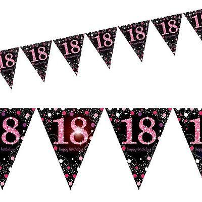 Glitter Happy Birhday-Banner zur Volljährigkeit, Zahl 18, Länge 4m