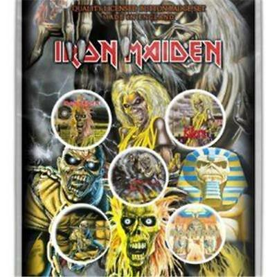 OFFICIAL LICENSED - IRON MAIDEN - EARLY ALBUMS 5 BADGE PACK HEAVY METAL