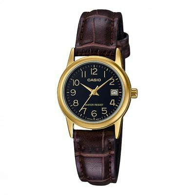 CASIO LTP-V002GL-1B Women's GOLD TONE LEATHER BAND Easy Reader Dial Date Watch