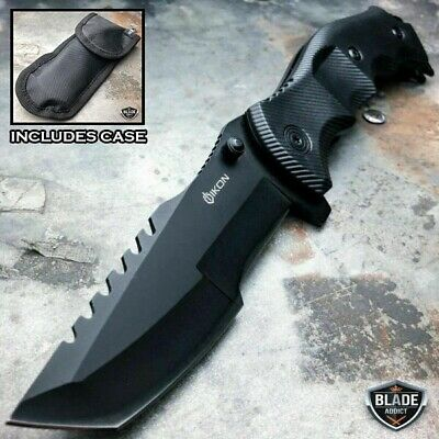TACTICAL Spring Assisted Open Pocket Knife CLEAVER RAZOR FOLDING Blade Black NEW Spring Assisted Opening Knife