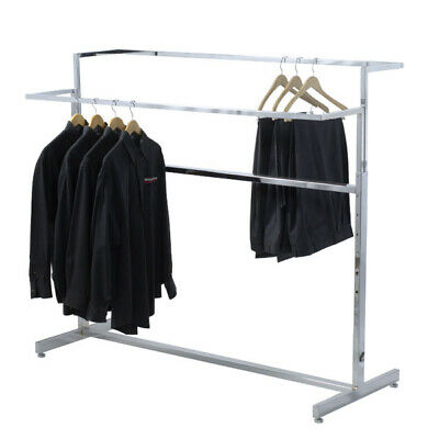 Double Bar Apparel Rack In Chrome Plated Steel 60 W X 24 D X 40-57 H Inch