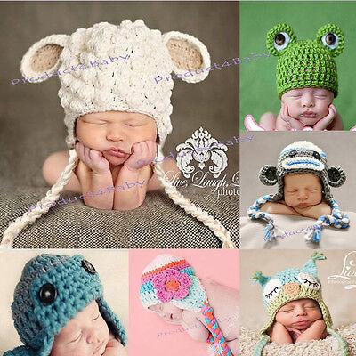 New Baby Boy Girl Crochet Beanie Costume Hat 0-3, 3-6, 6-12M,1-3Yrs Photo Props