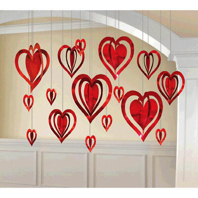 3-D Red Foil Hearts Hanging Decorations ~ Valentine Wedding Party Supplies ~16ct (Valentines Supplies)