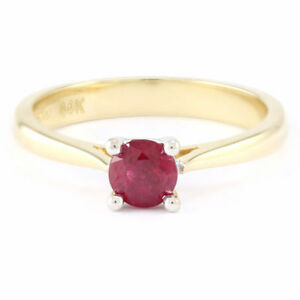 14k Yellow/White Gold Ruby Solitaire Ring (0.68 ct) #3630