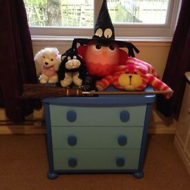 Childrens wood chest of drawers blue
