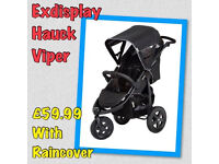 EXDISPLAY HAUCK VIPER UNISEX SPORTY 3 WHEELER PRAM PUSHCHAIR BUGGY FROM BIRTH TO 3 YEARS BIG WHEELS