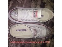 Customised converses size 4 never worn