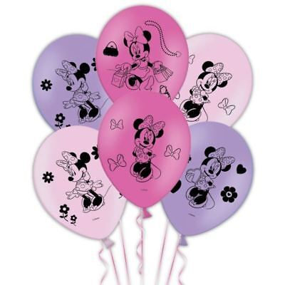 6 Disney's Minnie Mouse Children's Birthday Party 4-Sided Printed Latex Balloons