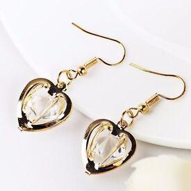 Faux Gem Heart Drop Earrings