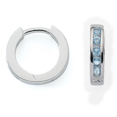 Mädchen Scharnier- Creolen Ohrringe mit Zirkonia Steinen hell blau Silber 925