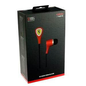 Ferrari By Logic3 - Scuderia S100i - (Red) - Earphones - 3 Button Remote Seaeled Box