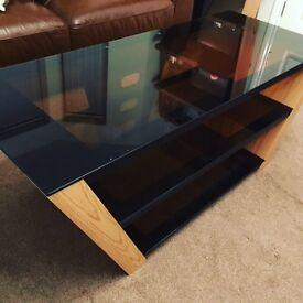 TV unit glass and oak wood effect