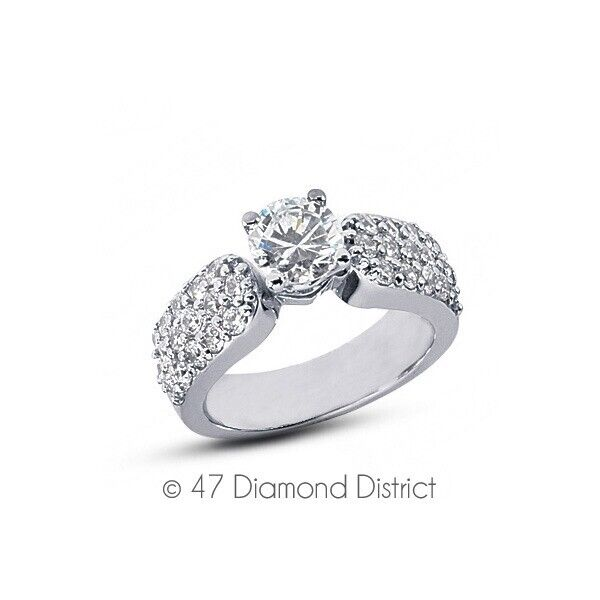 2.64ct Tw D-vs2 Round Cut Natural Certified Diamonds 14k Gold Side-stone Ring