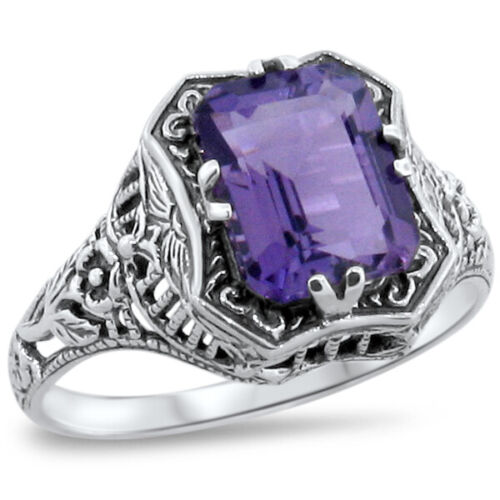 GENUINE AMETHYST ART DECO ANTIQUE STYLE 925 STERLING SILVER RING SIZE 6     #244