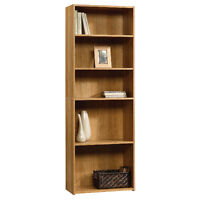 5-Shelf Oak and Dark Brown Bookcases, Fully Assembled