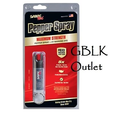Sabre Red Pepper Spray and UV Marking Dye KR-14-OC Black - USA Made - Key Ring