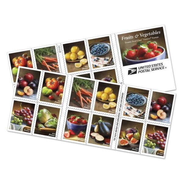 New USPS Fruit & Vegetables Booklet of 20