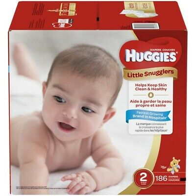 Huggies Little Snugglers Baby Diapers, Size 2: 12- 18 lbs 186ct FREE SHIPPING