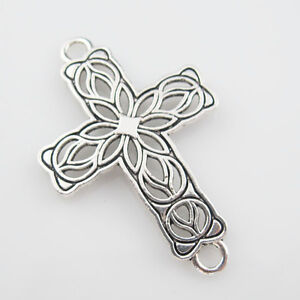 8Pcs Tibetan Silver Cross Flower Charms Pendants Connectors DIY 27.5x42mm L866