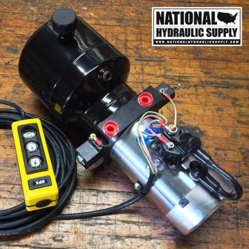 SPX Stone/Fenner 12VDC Double Acting Hydraulic Power Unit,Pump,Dump,1-Gal.,Lift